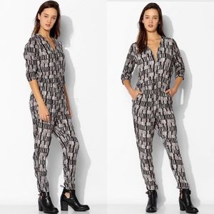 Just Female Yall Geo Print Zip Up Jumpsuit Pockets